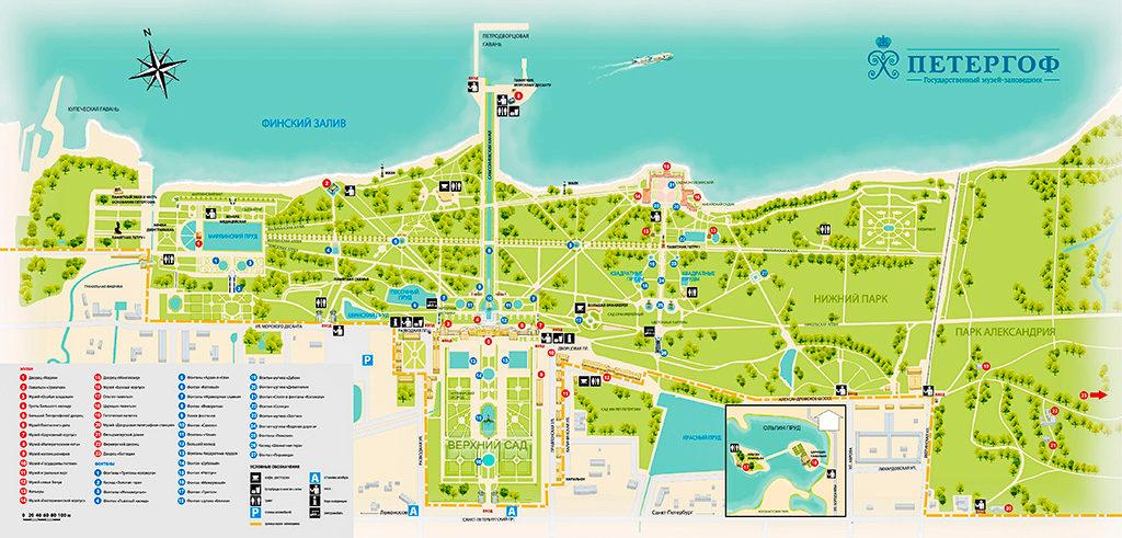 План-карта Петергофа (изображение увеличится при клике)